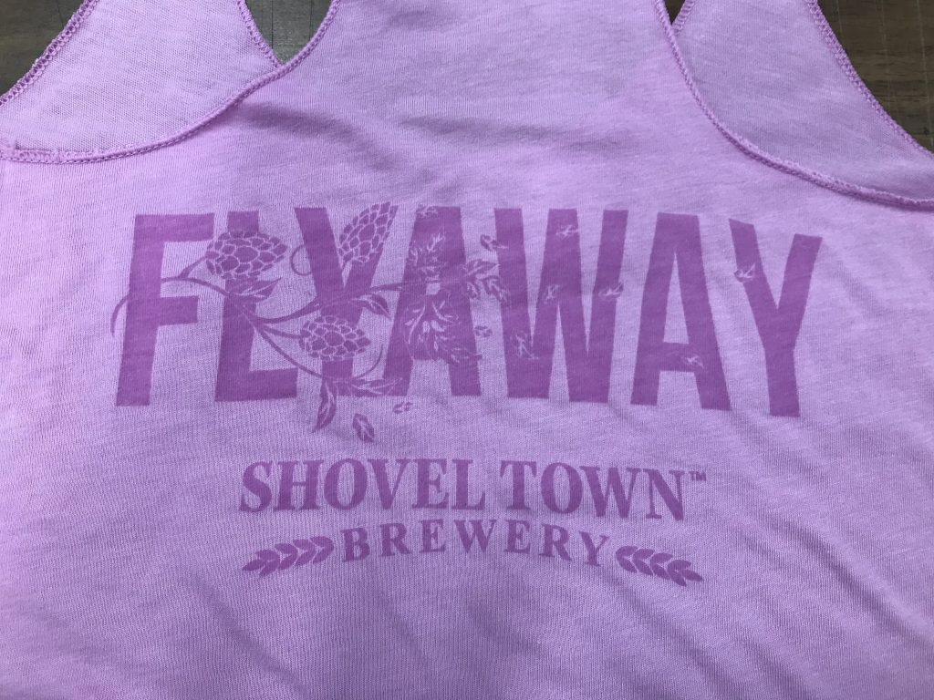 photo of a custom tank top design for Shovel Town Brewery-PINK